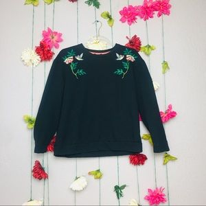 Anthropologie W5 Black Embroidered hummingbird M.